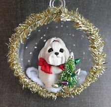 Maltese Lighting the tree Ornament Hand Sculpted Dog Collectible Furever Clay