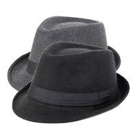 New Men Trilby Hat Solid Wool Blend Fedora Hat Vintage Elder Outdoor Sun Cap