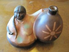 Chulucanas Peru Clay Pottery  signed by LOPE  Native Folk Art  Woman w/water jug