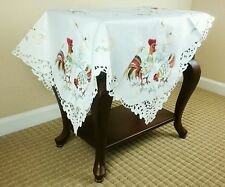 "Easter Embroidered Embroidery Cutwork 36"" Tablecloth Chicken Rooster Egg -Square"