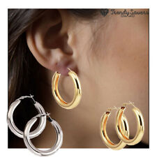 Thick Chunky Hoop Earrings 14K Gold Plated Stainless Steel Minimalist Round Open