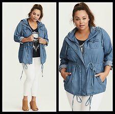 NWT Torrid Women's Plus Size 4 4X Chambray Anorak Jacket (EE24)