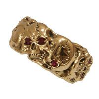 Masonic Gold 10K skull band men's ring Memento Mori Size 12 Ruby Color Stones