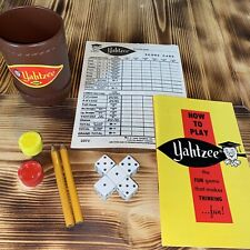 Yahtzee Game Parts 1956 Manual Cup Score Cards Chips Dice Vintage