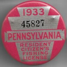 1933 Pennsylvania RESIDENT CITIZEN Fishing License - PA Licenses