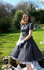 1940s Style Black and White Polka Dot Cotton Dress 14 UK