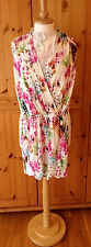 H&M size S floral summer playsuit shortsie jumpsuit - white pink multi