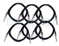 6 Pack Guitar Cable 33 Foot 1/4 TS Jack Music Audio Patch Cord Instrument Lot