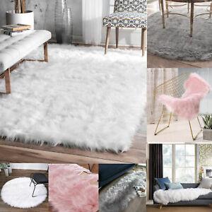 Faux SHEEPSKIN Rug Animal Fur Ultra Soft Wool Shaggy Thick Pile Rugs Carpet Mat
