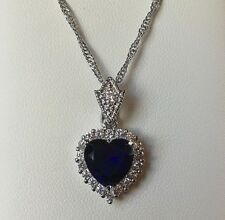 White Gold Pendant Chain Vintage Style Diamond & Sapphire Heart Necklace GF BOXD