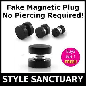 Magnetic Earring Fake Flesh Plug Ear Stretcher Clip-on Stud Magnet Mens Piercing