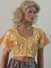 Yellow   Sari Choli Blouse Belly Dancing Shinny Top Indian wedding All sizes