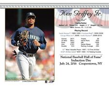 KEN GRIFFEY JR. SEATTLE MARINERS 8X10 2016 HALL OF FAME HOF INDUCTION DAY CARD