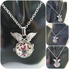 "Angel bola ball necklace pink chime ball heart case silver plated 18"" chain"