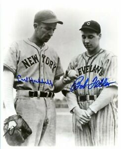 Carl Hubbell & Bob Feller BOTH HOFers signed photo! Teacher mentoring youngster