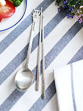 1 Set Dandy Panda Korean Cutlery Spoons Chopsticks Set Stainless Steel Japanese