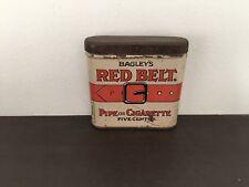 Vintage Red Belt pocket tobacco tin-antique-pipe-cigarette-advertising