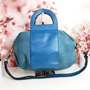 Kate Spade Saturday Blue Suede Cow Leather Bowling Bag Crossbody Satchel