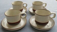 FOUR Denby Potters Wheel Cup and Saucer Sets