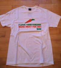 BNWT Men's Plain Lazy 'I Love Vegetarians' T Shirt Size Small In White