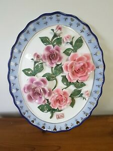 LARGE Shabby Chic Vintage  Ceramic  Rose Wall Plaque Hand Made Signed Japanese ?