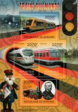 Allemand trains (Saxonia/Ice TD/Regio Navette/Classe 614) Timbre feuille/2012 Burundi