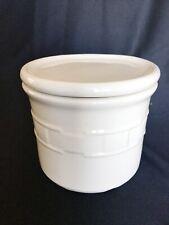 Longaberger Pottery Ivory Salt Crock Candle Holder 1 Pint Lid Coaster