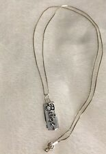 "Estate Sale .925 Sterling Silver ""BELIEVE"" Bar Pendant with .925 Chain!!"