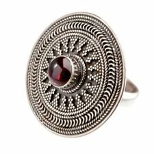 81stgeneration Sterling Silver Garnet Disc Tribal Oxidized Round Ring