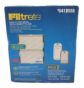 3M Filtrete HEPA Media Replacement 2 Pk Filter 0412558 Filter B Idylis Purifiers