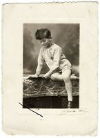 Antique boy photo 1920's French little boy funny child portrait interior #L1020F
