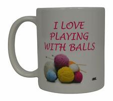 Funny Coffee Mug Novelty Cup Yarn Balls Joke Quilting Knitting Crochet Gift Her