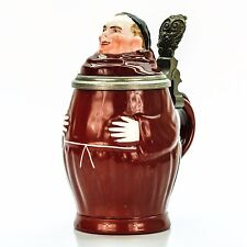 Character Lidded Beer Stein - Monk | Antique Germany 1900s Porcelain Lithophane