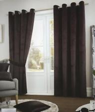 VELVET RINGTOP LINED WINDOW DOOR CURTAINS BROWN RED GREY BLUE BEIGE CREAM BLACK