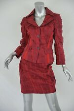 DOLCE&GABBANA Red/Burgundy SILK ORGANZA Pleated Jacket Skirt SUIT Set XS 2-38
