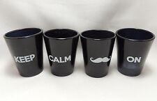 Shot Glasses Keep Calm Mustache On 1.5 oz Set of 4 Black Shooters Gift Pkg New
