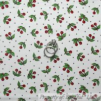 BonEful Fabric FQ Cotton Quilt White Red Black B&W Small CHERRY Dot Green Leaf S