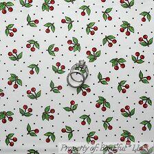 BonEful Fabric FQ Cotton Quilt White Red Black B&W CHERRY Dot Calico Green Leaf