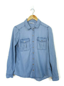 JUST JEANS Med Blue Chambray Long Sleeve Metal Button Up Shirt Top - Size 10