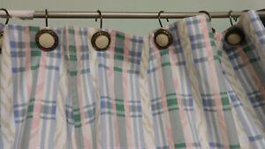 Waverly Pastel Plaid Fabric Shower Curtain-Beautiful! Never Used