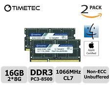 Timetec 2x8GB DDR3 1066MHz PC3-8500 Non-ECC 1.5V 2Rx8 SODIMM Apple Memory RAM