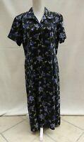 Bonmarche black/floral button through short sleeve dress Size 18