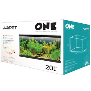 AQPET ACQUARIO ONE MINI IN VETRO ACCESSORIATO COMPLETO 20 LITRI NERO