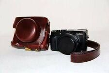 PU Leather Camera Bag Case Cover Pouch For Panasonic Lumix LX100 Coffee