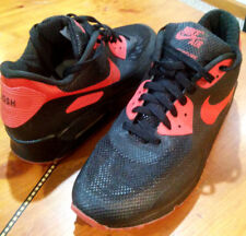 "MENS NIKE SZ 11 AIR MAX 90 HYPERFUSE NIKEiD PREMIUM BLK/RED ""JOSH"" CUSTOM STITCH"