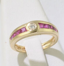 14K Yellow Gold Ladies Diamond & Ruby Band