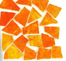 50 FIRE ORANGE with Glitter Mosaic Art Glass Art tiles by Makena Tile