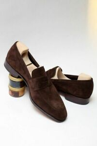 Men Handmade Suede Leather Penny Loafer Shoes, Moccasin Shoes, Slip on Shoes
