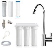 Triple Undersink Water Filter System   Carbon + Sediment + Euro Faucet Tap