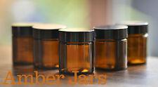 8 x 30ml Amber Glass Jar + black lid. cream jar, lip balm, travel jar FREE POST